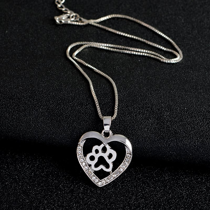Dog lover cafe for dog lovers and their best friends dog paw in dog lover cafe for dog lovers and their best friends dog paw in heart pendant with rhinestones dog lover cafe for dog lovers and their best friends aloadofball Image collections
