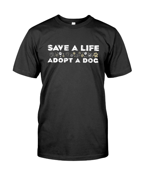 Adopt A Dog T-Shirt Black